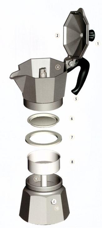 Гейзерная кофеварка в разборе